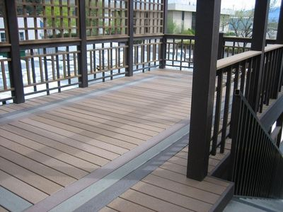 trex deck with inlay design and custom railing cfc fences decks provo ut