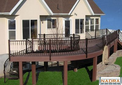 Trex Curved Woodland Brown Deck With Iron Railings CFC Fences Decks