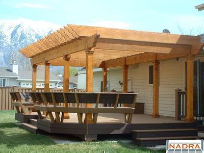 Trex Deck with wood pergola (CFC Fences & Decks - Provo, UT) - Arbors/Pergolas - Trex Deck With Wood Pergola (CFC Fences & Decks