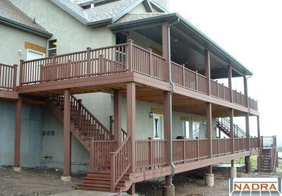 Multi level two story trex decks with designer railing for Two story deck