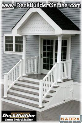 Covered Azek Porch With Fairway Columns And Certainteed Railing By Deckbuilder Custom Decks Railings Barnegat New Jersey Www Deckbuilderonline
